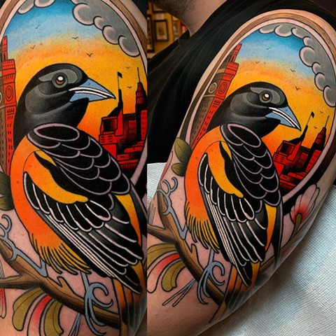 Jason's oriole tattoo
