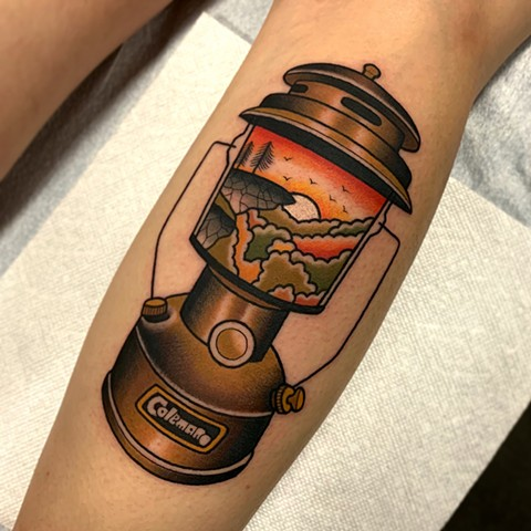coleman lantern tattoo by dave wah at stay humble tattoo company in baltimore maryland the best tattoo shop and artist in baltimore maryland