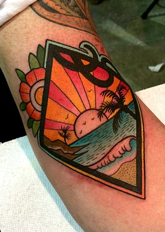 beach scene tattoo by dave wah at stay humble tattoo company in baltimore maryland the best tattoo shop in baltimore maryland