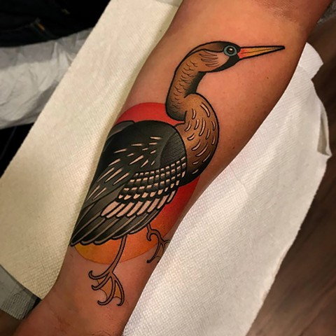 anhinga snake bird tattoo by dave wah at stay humble tattoo company in baltimore maryland the best tattoo shop and artist in baltimore maryland