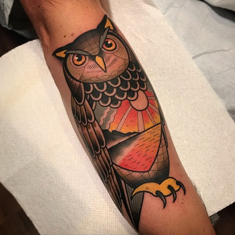 owl tattoo by dave wah at stay humble tattoo company in baltimore maryland the best tattoo shop and artist in baltimore maryland