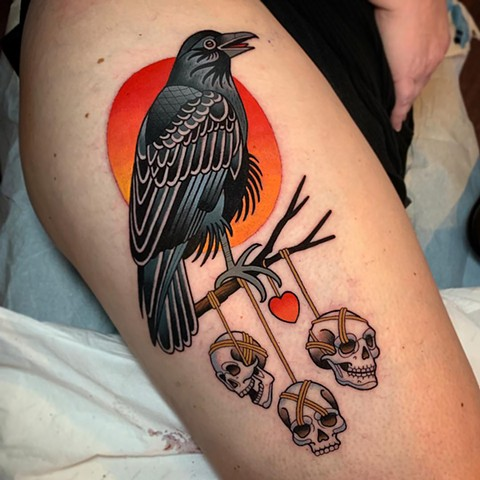 raven and skull tattoo by dave wah at stay humble tattoo company in baltimore maryland the best tattoo shop and artist in baltimore maryland