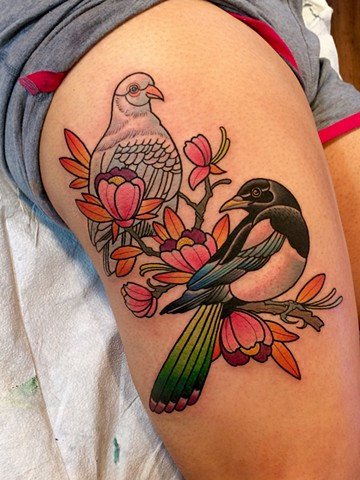 magpie and dove tattoo by dave wah at stay humble tattoo company in baltimore maryland the best tattoo shop in baltimore maryland