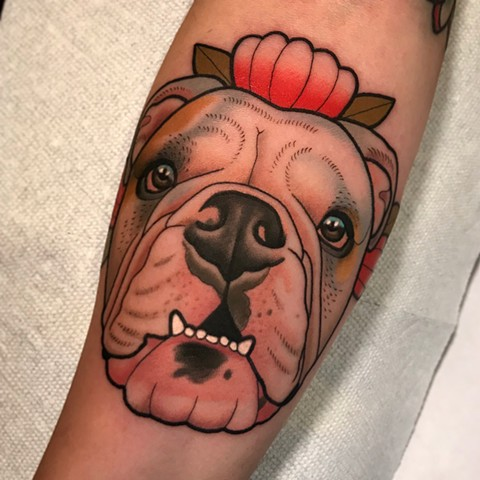 Samantha's dog portrait tattoo
