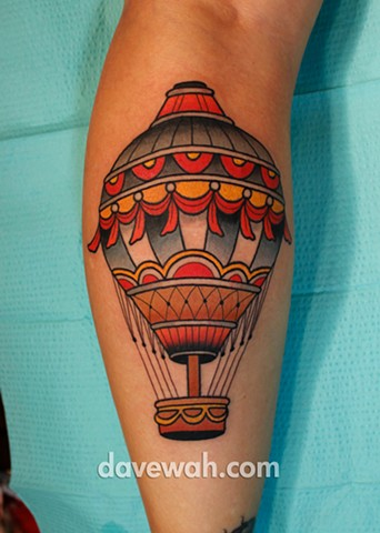 hot air balloon tattoo by dave wah at stay humble tattoo company in baltimore maryland the best tattoo shop in baltimore maryland