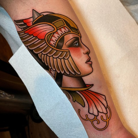 valkyrie girl tattoo by dave wah at stay humble tattoo company in baltimore maryland the best tattoo shop and artist in baltimore maryland