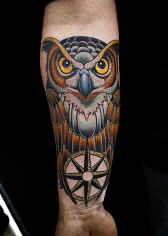 owl and  compass tattoo by dave wah