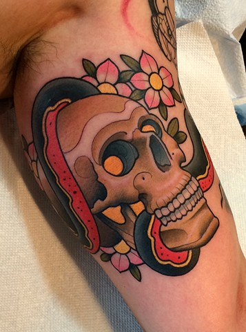 skull tattoo by dave wah at stay humble tattoo company in baltimore maryland the best tattoo shop in baltimore maryland