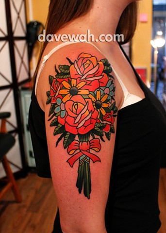 traditional flower tattoo by dave wah at stay humble tattoo company in baltimore maryland