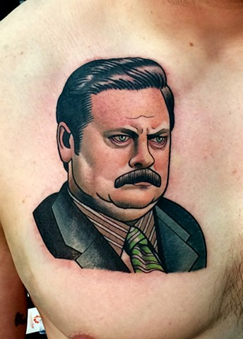 ron swanson tattoo by dave wah at stay humble tattoo company in baltimore maryland the best tattoo shop in baltimore maryland
