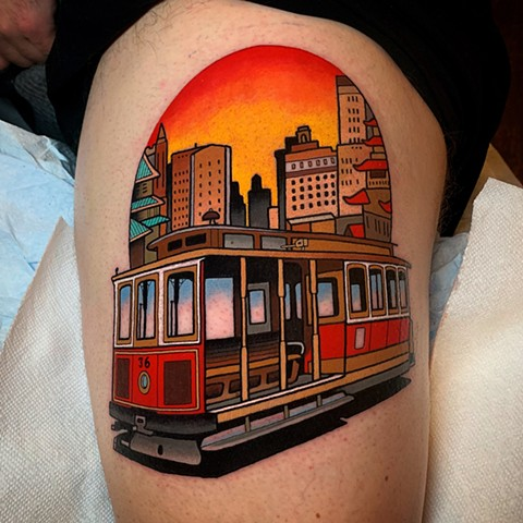 vintage cable car tattoo by dave wah at stay humble tattoo company in baltimore maryland the best tattoo shop and artist in baltimore maryland