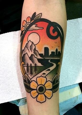landscape tattoo by dave wah at stay humble tattoo company in baltimore maryland the best tattoo shop in baltimore maryland