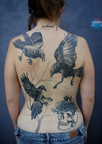 black and grey crow tattoo by dave wah