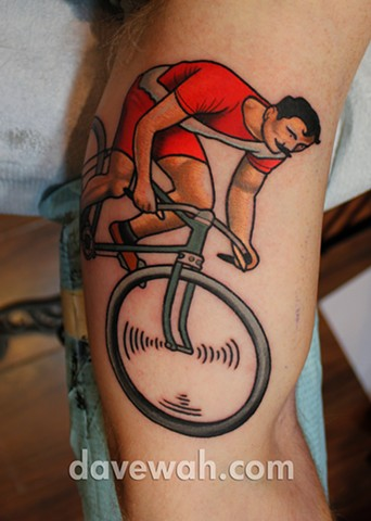 bike tattoo by dave wah at stay humble tattoo company in baltimore maryland the best tattoo shop in baltimore maryland