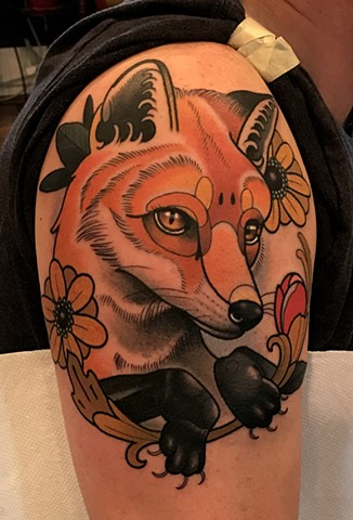 fox tattoo by tattoo artist dave wah at stay humble tattoo company in baltimore maryland the best tattoo shop in baltimore maryland
