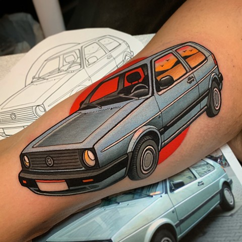 volkswagen golf tattoo by tattoo artist dave wah at stay humble tattoo company in baltimore maryland the best tattoo shop in baltimore maryland