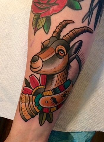 ibex tattoo by tattoo artist dave wah at stay humble tattoo company in baltimore maryland the best tattoo shop in baltimore maryland