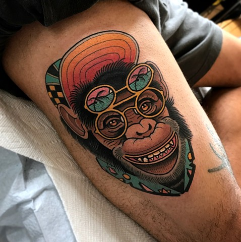 80's party chimpanzee tattoo by dave wah at stay humble tattoo company in baltimore maryland the best tattoo shop and artist in baltimore maryland