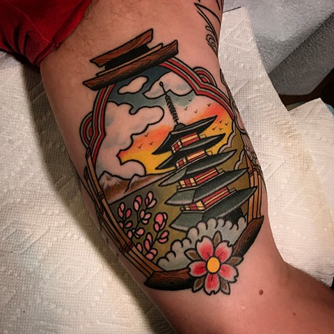 pagoda tattoo by dave wah at stay humble tattoo company in baltimore maryland the best tattoo shop and artist in baltimore maryland