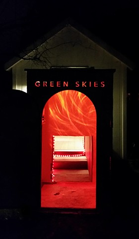 Green Skies- Exterior View at Night