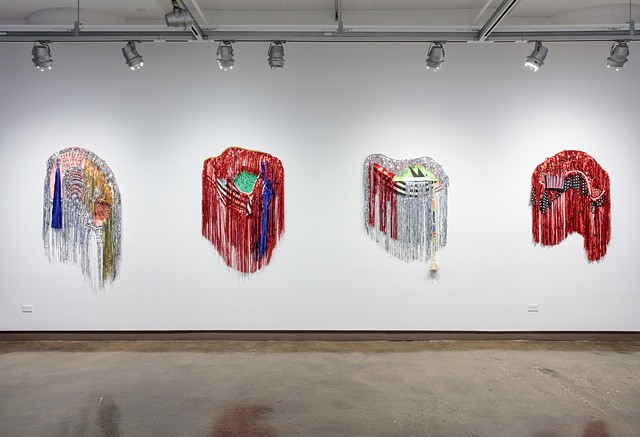 "Installation view during  ""Elmuseo@sva:  May Contain Moving Parts""  at School of Visual Arts'  Chelsea Gallery; New York, NY"