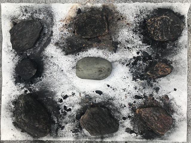 "performative process from ""Witness 6""  April 2020  performative drawing with rocks, tea, and charcoal"