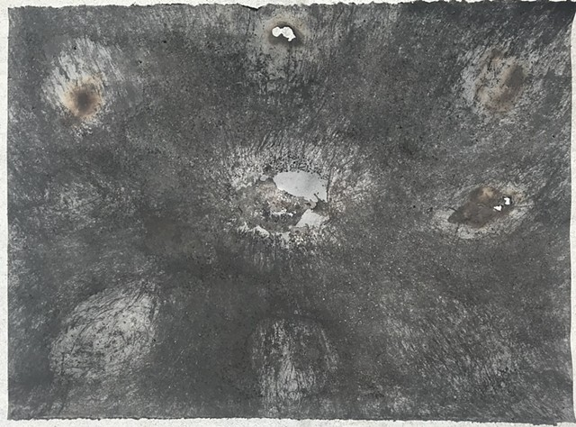 """Witness 6""  April 2020  performative drawing with rocks, tea, and charcoal"