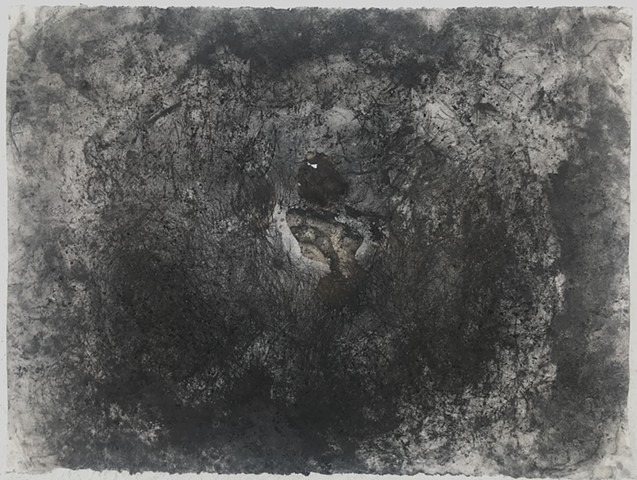 """Witness 4"" April 2020  performative drawing with rocks, tea, and charcoal"