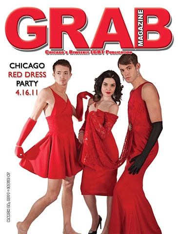 Male Makeup for Chicago Red Dress.  Beauty Makeup (center) by Lillian Murphy