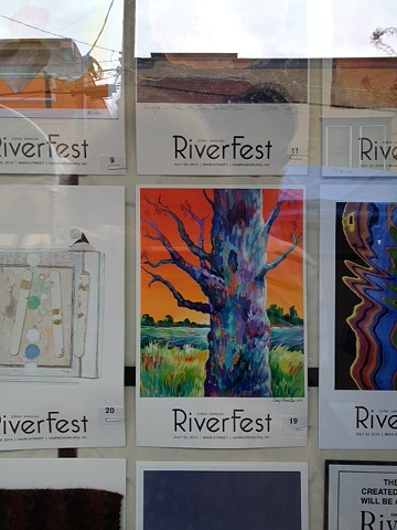 My Riverfest Poster Auction entry at the Arts Alliance in Narrowsburg, NY on display  before the auction