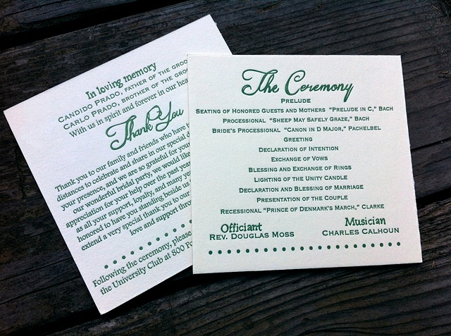 Sage Green Wedding Programs