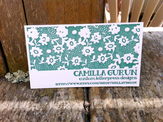 Floral Business Card detail