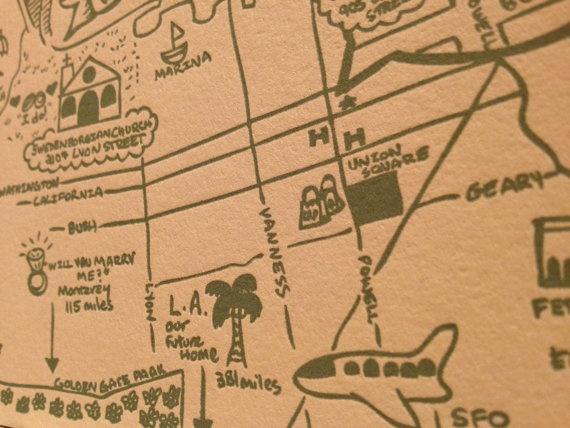San Francisco Wedding Map- detail