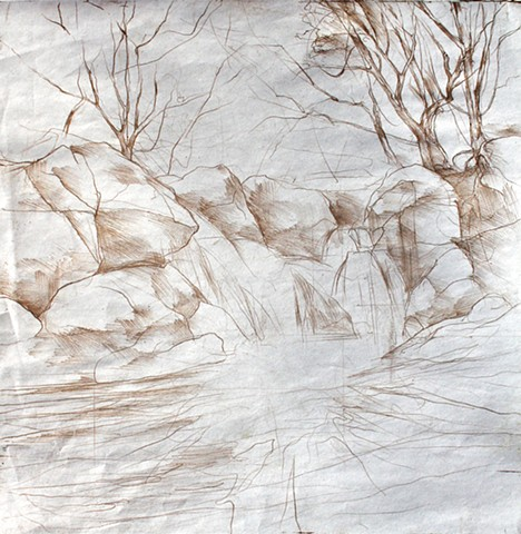 soft-ground drawing for  'Falls at Burnt Mills'