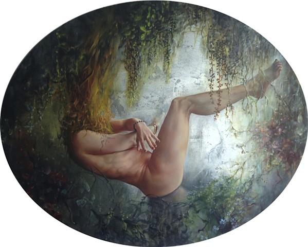 """Bachvarova_Sofia_Beyond The Hanging Gardens/Bardo V_oil on canvas_ oval 56""""x48"""" 2014"""