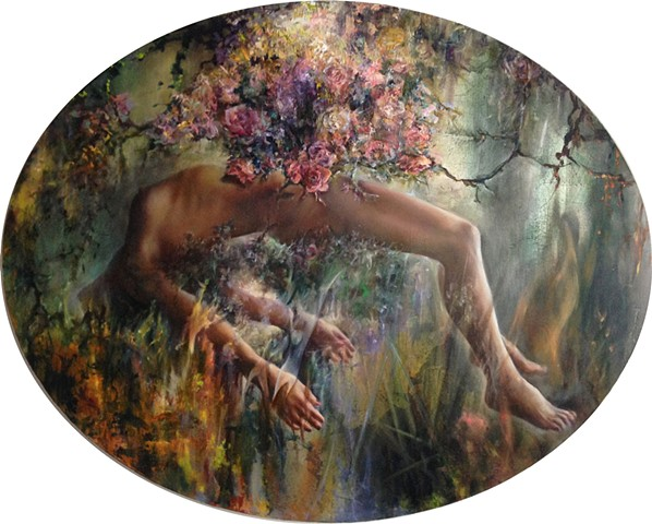 "Bachvarova_Sofia_Beyond The Hanging Gardens/Bardo IV_oil on canvas_56""x48"" 2014"