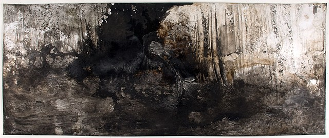Athena LaTocha, Untitled No. 25, 2015, Sumi and walnut ink, and shellac on paper, 18 x 43 7/8 inches. Currently on view in: The Horse Nation of the Ochéthi Šakówin, South Dakota Art Museum, Brookings, SD, April 25 - August 20, 2017.