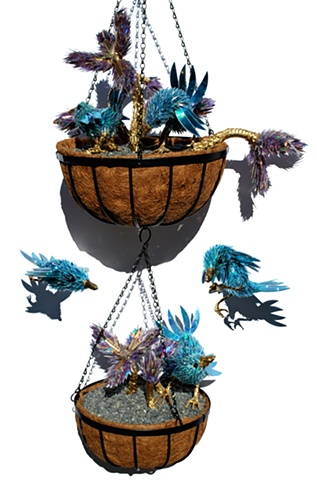 sean e avery cd sculpture mixed media sculpture shiny sculpture the blue wren hanging gardenscd fragment art