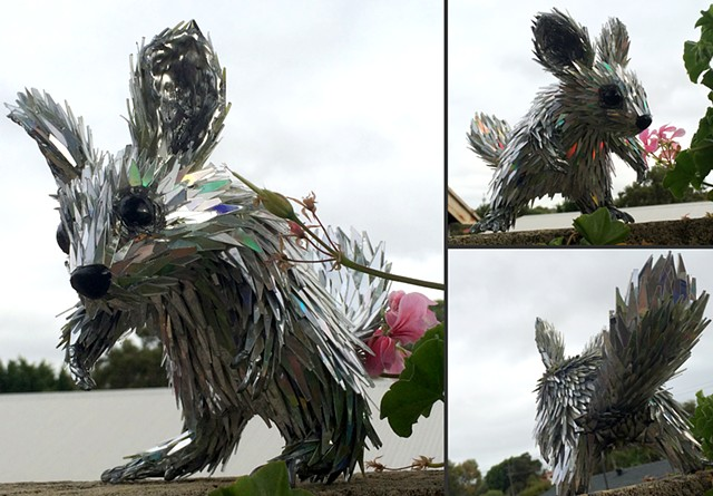 sean e avery cd sculpture sustainable sculpture recycled sculpture chinchilla