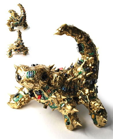 sean e avery cd sculpture mixed media sculpture shiny sculpture thorny devil