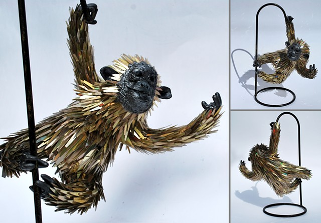 Sean e avery cd sculpture sustainable sculpture recycled sculpture orangutan