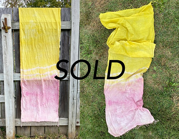 Goldenrod and Cochineal DyeCotton Scarf$80