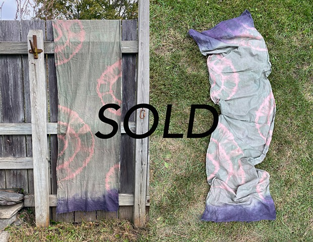 Madder, Chlorophyll, and Logwood Dye Cotton Scarf $80