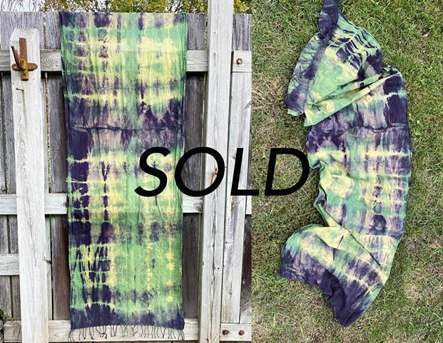 Goldenrod, Chlorophyll, and Logwood DyeCotton Scarf$80