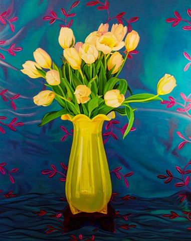 yellow vase with tulips