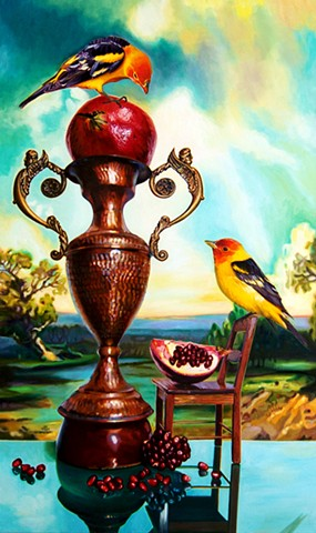 tanagers & pomegranates