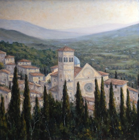 Assisi, oil painting, carrie mitchell