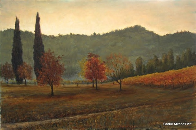 Tuscany oil painting by Carrie Mitchell Vineyard