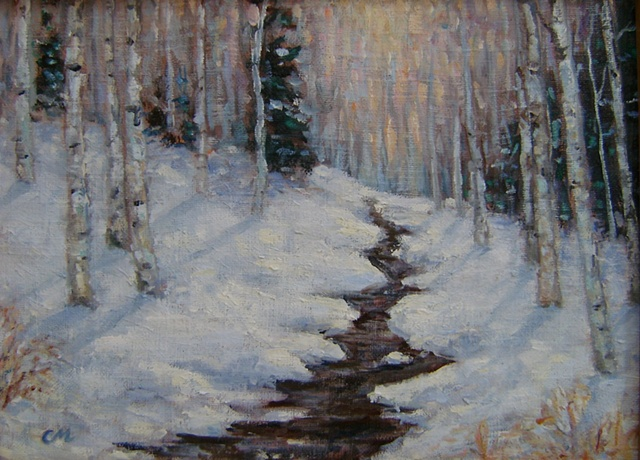 """Aspens in the Snow"""