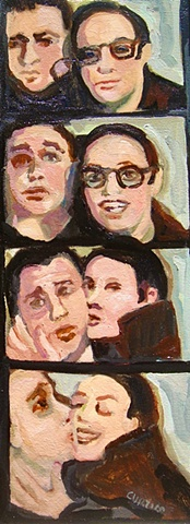 Jersey Shore Painting  of couple in a photo booth
